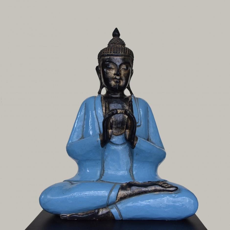 Bouddha bleu en bois