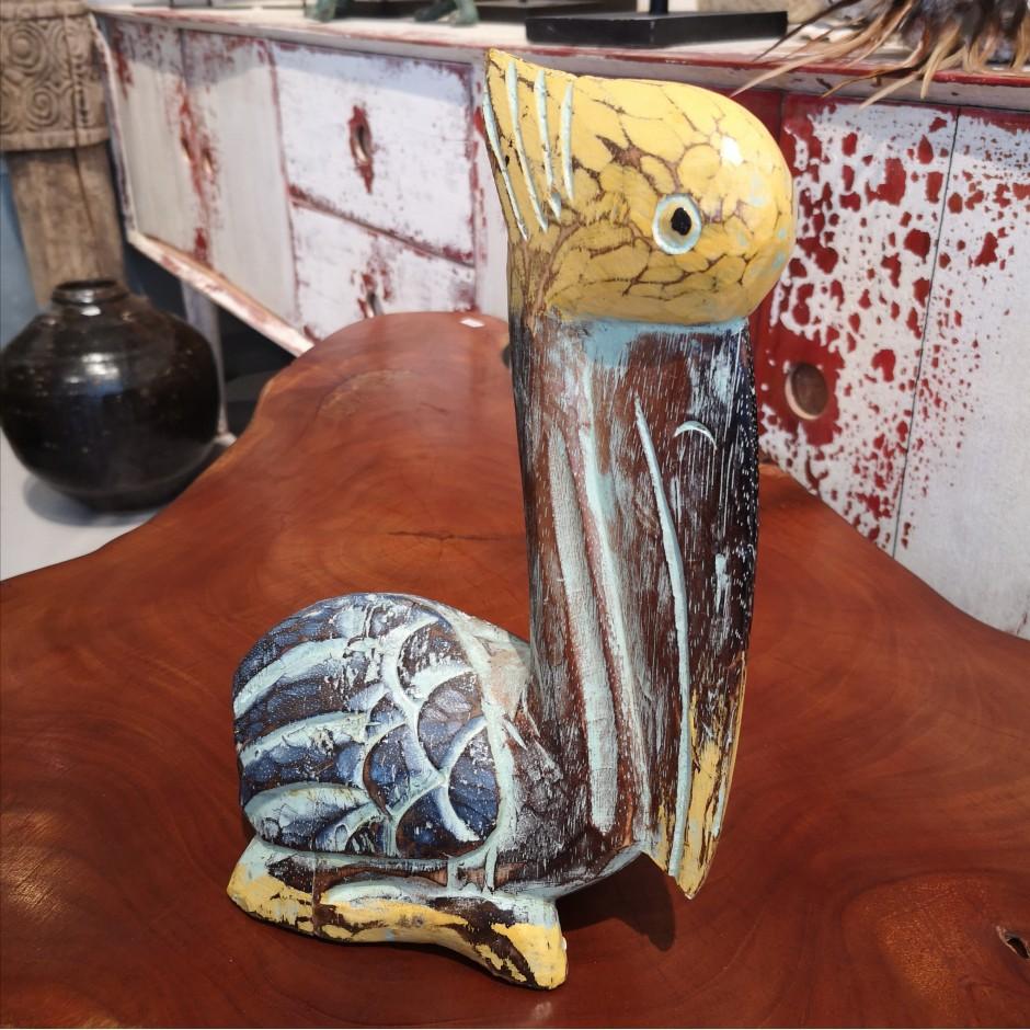 Pélican sculpté et patiné de Java