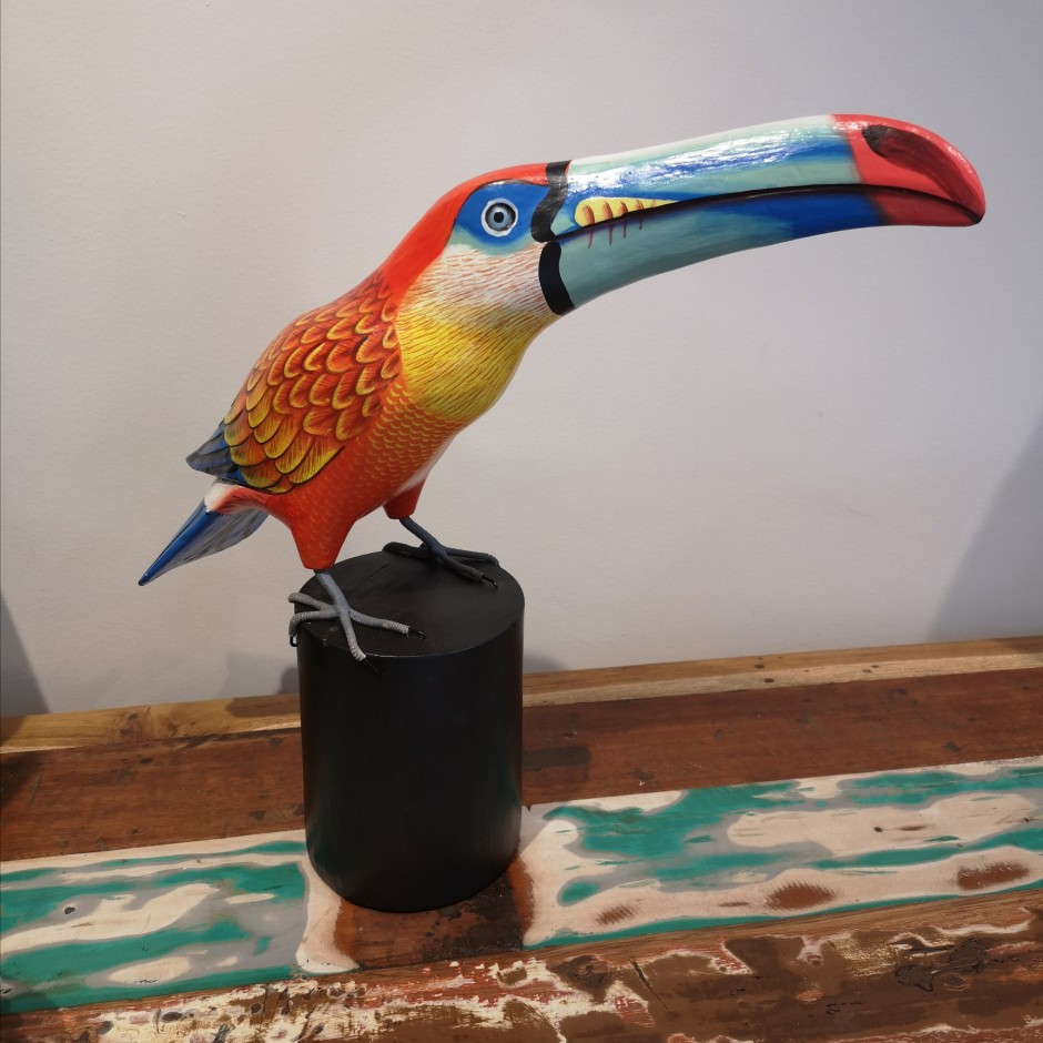 Toucan en bois sculpté de Java
